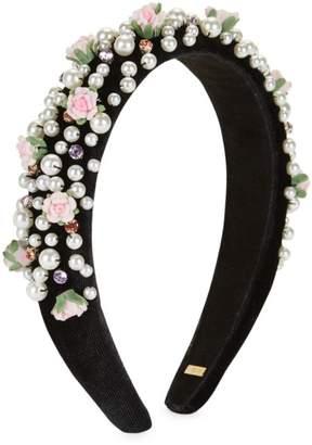 Bari Lynn Girl's Floral Sequin Imitation Pearl Swarovski Crystal Velvet Headband