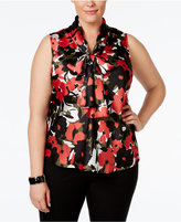 Nine West Plus Size Printed Tie-Neck Top