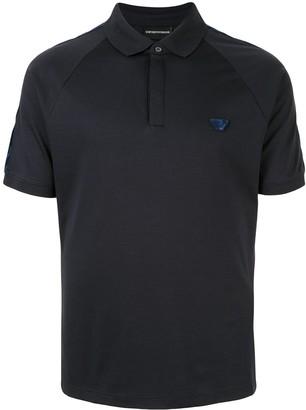 Emporio Armani logo patch textured polo shirt