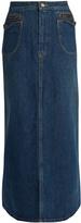 Saint Laurent Patch-pocket A-line denim skirt