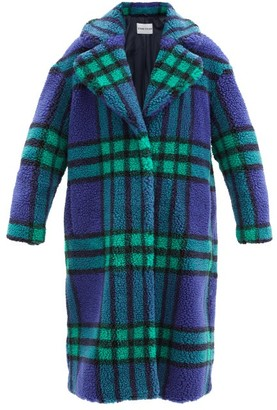Stand Studio Camilla Check Recycled-fibre Faux-shearling Coat - Green Navy