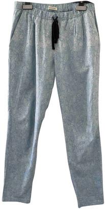 Masscob Blue Cotton Trousers for Women