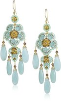 Miguel Ases Gold-Filled Amazonite, Crystal, and Glass Bead Chandelier Drop Earrings