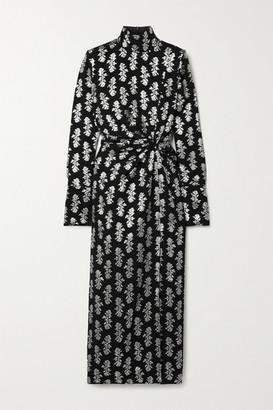 16Arlington Morie Knotted Fil Coupe Crepe Midi Dress - Black