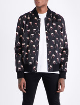 Saint Laurent Flamingo-print satin bomber jacket