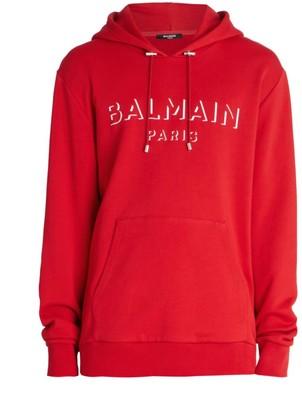 Balmain Side-Zipper Logo Fleece Hooded Sweatshirt