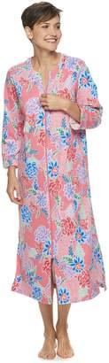Miss Elaine Women's Essentials Long Zipper Print Robe