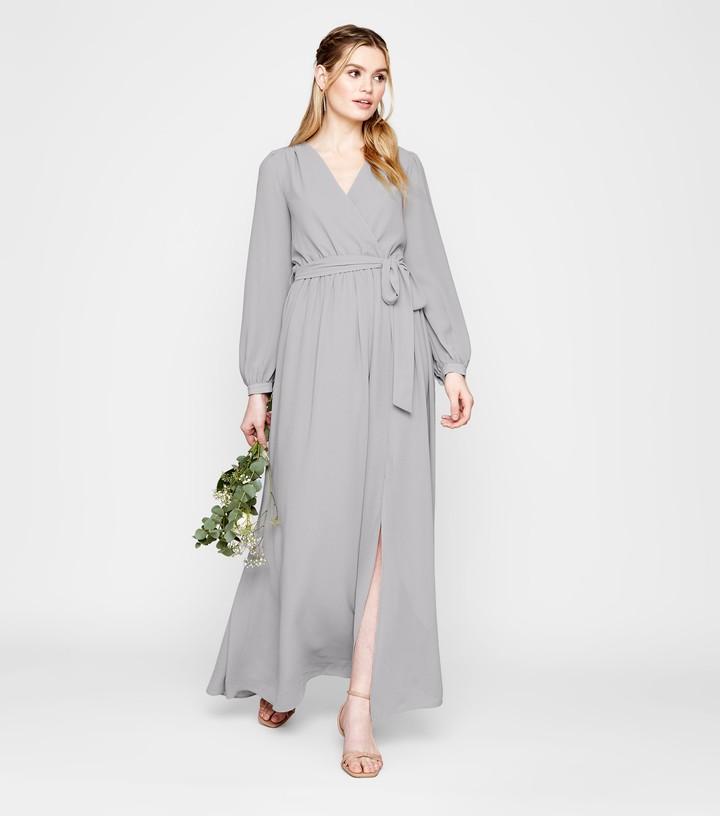 New Look Long Sleeve Side Split Wrap Maxi Dress