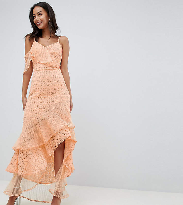 Asos Tall DESIGN Tall asymmetric rufflle broderie maxi dress