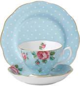 Royal Albert Polka Blue Teacup/Saucer/Plate Set