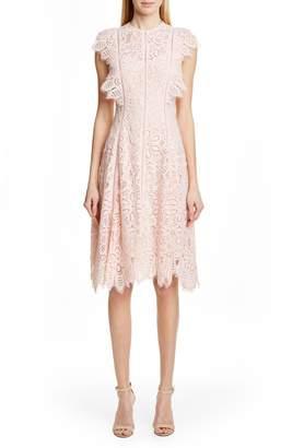 Lela Rose Flutter Sleeve Lace Dress