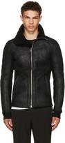 Rick Owens Black Shearling Intarsia High Neck Jacket