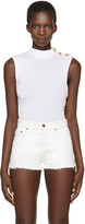 Balmain White Sleeveless Turtleneck