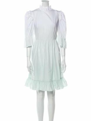 Batsheva Mock Neck Knee-Length Dress Green