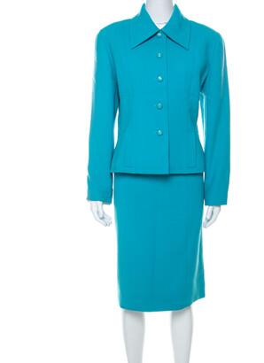 Chanel Boutique Light Blue Crepe Wool Tailored Skirt Suit L