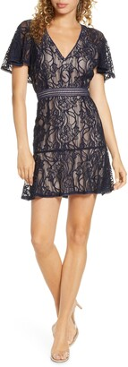 BB Dakota In My Lace Capelet Sleeve Minidress