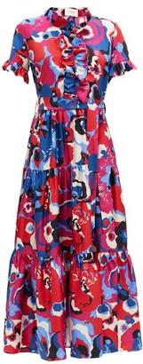 La DoubleJ Long And Sassy Big Flower-print Ruffled Silk Dress - Red Multi