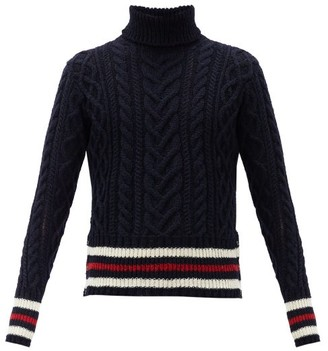 Thom Browne Striped Cable-knit Wool-blend Sweater - Navy