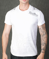 Rebel Spirit White 'Rebellious Elegance' Embroidery Tee - Men's Regular