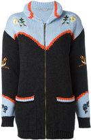 Stella McCartney embroidered nature chunky cardigan - women - Cotton/Virgin Wool - 36