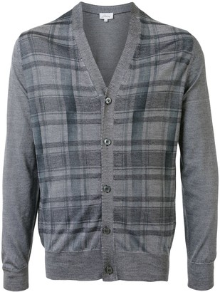 Brioni check patterned V-neck cardigan