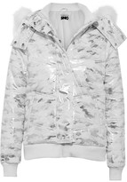 Topshop Sno - Queen B Faux Fur-trimmed Metallic Camouflage-print Ski Jacket - Silver