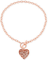 GUESS Rose Gold-Tone Pavé Heart Toggle Pendant Necklace