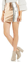French Connection Audrey Faux Metallic Leather Mini Skirt