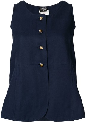 Chanel Pre Owned Buttoned Sleeveless Top