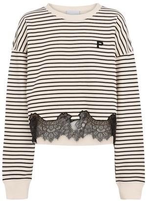 Philosophy di Lorenzo Serafini Lace-trimmed striped cotton sweatshirt