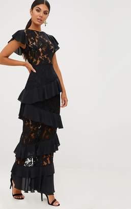 PrettyLittleThing Black Lace Ruffle Detail Maxi Dress