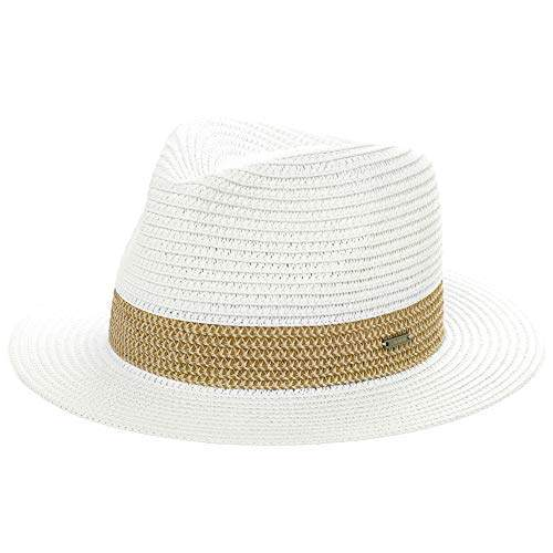 bed04261a Jeff & Aimy Ladies Straw Fedora Panama Sun Hat for Women Mens Wide Brim UV  Summer Beach Travel Safari Sunhat Packable Adjustable Medium 56CM White