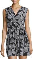 Neiman Marcus Bow-Print Sleeveless Short Jumpsuit, Black/White