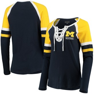 New Era Women's 5th & Ocean by Navy Michigan Wolverines Lace-Up Raglan Long Sleeve T-Shirt