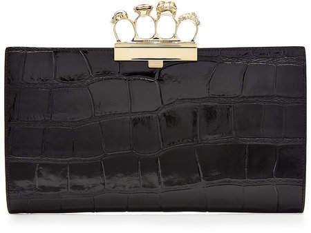 Alexander McQueen Embossed Leather Brass Knuckle Clutch