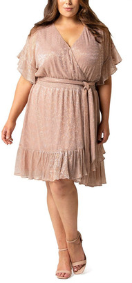 Forever New Curve Phoebe Curve Metallic Plisse Mini Dress