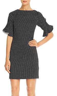 Karl Lagerfeld Paris Flared-Cuff Polka Dot Sheath Dress