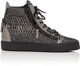 Giuseppe Zanotti Men's Double-Zip High-Top Sneakers-SILVER