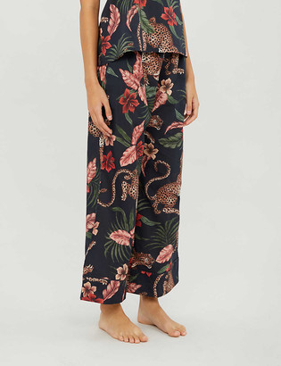 Desmond & Dempsey Soleia-print wide-leg cotton pyjama bottoms