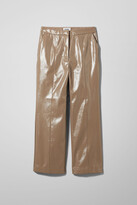 Weekday Piper Patent Trousers - Beige