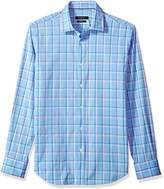 Bugatchi Men's Slim Fit Regular Point Collar Checkered Cotton Shirt