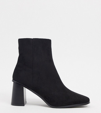 Raid Wide Fit Paulina square toe ankle boots in black