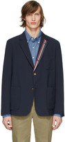 Thom Browne Navy Wool Seersucker Sport Blazer