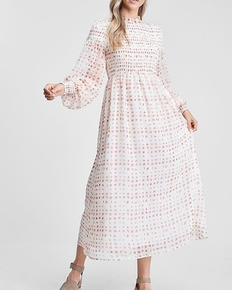 Express En Saison Long Sleeve Smocked Maxi Dress