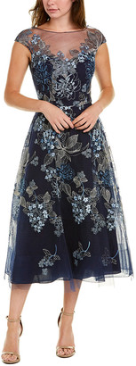 Teri Jon By Rickie Freeman Embroidered Midi Dress