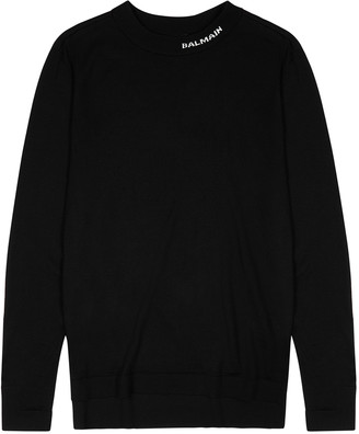 Balmain Black fine-knit wool jumper