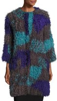 Armani Collezioni Colorblock Mongolian Lamb Fur Caban Coat, Multicolor