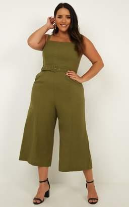 Showpo What If Jumpsuit in khaki linen look - 6 (XS) Playsuits &