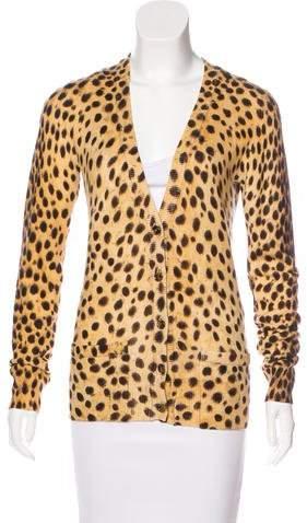 Dolce & Gabbana Cheetah Print V-Neck Cardigan