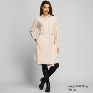 Uniqlo WOMEN Corduroy Long Sleeve Shirt Dress